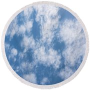 Look Up Not Down Clouds Round Beach Towel by Terry DeLuco