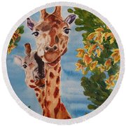 Round Beach Towel featuring the painting Lookin Back by Karen Ilari