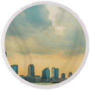 Looking At New Jersey Round Beach Towel