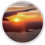 Looking At Sunset From Airplane Window With Lake In The Backgrou Round Beach Towel