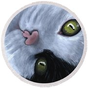 Round Beach Towel featuring the painting Looking At You by Anastasiya Malakhova