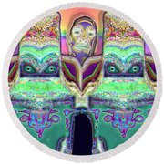 Round Beach Towel featuring the digital art Looking At You by Ron Bissett