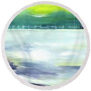 Round Beach Towel featuring the painting Looking Beyond by Anil Nene