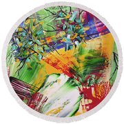 Round Beach Towel featuring the painting Looking Beyound The Present by Sima Amid Wewetzer