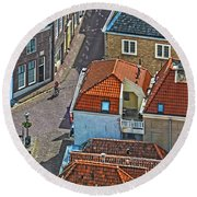 Looking Down From The Church Tower In Brielle Round Beach Towel