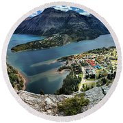 Looking Down On Waterton Lakes Round Beach Towel