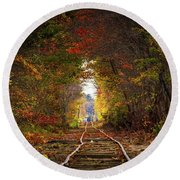 Looking Down The Tracks Round Beach Towel