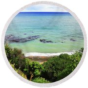 Round Beach Towel featuring the photograph Looking Down To The Beach by Nareeta Martin