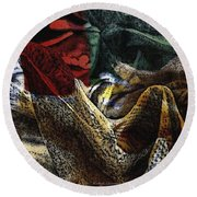 Round Beach Towel featuring the photograph Looking For Answers by Kathie Chicoine
