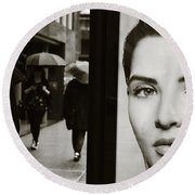 Round Beach Towel featuring the photograph Looking For Your Eyes by Empty Wall