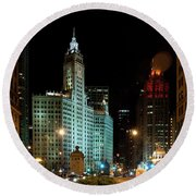 Looking North On Michigan Avenue At Wrigley Building Round Beach Towel
