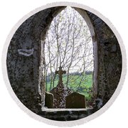 Looking Out Fuerty Church Roscommon Ireland Round Beach Towel