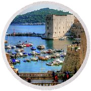 Looking Out Onto Dubrovnik Harbour Round Beach Towel