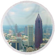 Round Beach Towel featuring the photograph Looking Out Over Atlanta by Mike McGlothlen