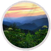 Looking Out Over Woolyback On The Blue Ridge Parkway  Round Beach Towel