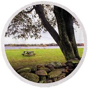 Looking Over The Wall Round Beach Towel