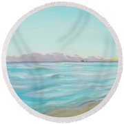 Looking South Tryptic Part 2 Round Beach Towel