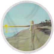 Looking South Tryptic Part 3 Round Beach Towel