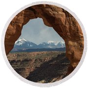 Looking Through Delicate Arch Round Beach Towel