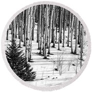 Looking Through The Aspen Black And White Round Beach Towel