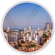 Round Beach Towel featuring the photograph Looking Towards The Sea - Miraflores by Mary Machare