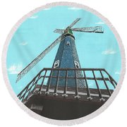 Looking Up At A Windmill Round Beach Towel