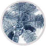 Round Beach Towel featuring the photograph Looking Up At Palm Tree Blue by Ben and Raisa Gertsberg