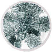Round Beach Towel featuring the photograph Looking Up At Palm Tree Green by Ben and Raisa Gertsberg