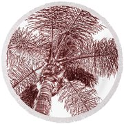 Round Beach Towel featuring the photograph Looking Up At Palm Tree Red by Ben and Raisa Gertsberg