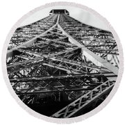 Looking Up From The Eiffel Tower Round Beach Towel by Darlene Berger
