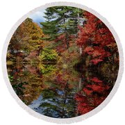 Round Beach Towel featuring the photograph Looking Up The Chocorua River by Jeff Folger