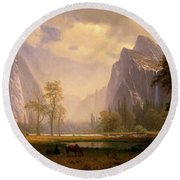 Looking Up The Yosemite Valley  Round Beach Towel