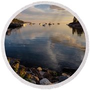 Round Beach Towel featuring the photograph Lookout Point, Harpswell, Maine  -99044-990477 by John Bald