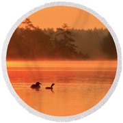 Loon And Chick At Sunrise Round Beach Towel