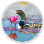 Loon And Lotus Round Beach Towel