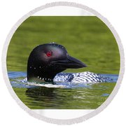 Loon Droplets Round Beach Towel
