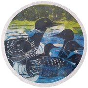 Round Beach Towel featuring the mixed media Loon, I See by Cynthia Lagoudakis