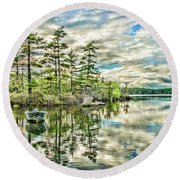Loon Island Round Beach Towel by Daniel Hebard