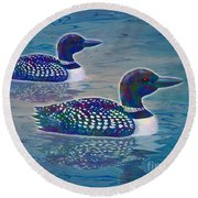 Round Beach Towel featuring the painting Loon Lagoon by Teresa Ascone