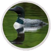 Loon Reflections On The Lake Round Beach Towel
