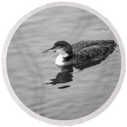 Round Beach Towel featuring the photograph Loon  by Trace Kittrell