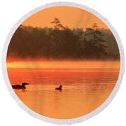 Loon With Young At Sunrise, Nova Scotia Round Beach Towel