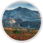 Loowit Falls Mount St Helens Wildflowers Round Beach Towel by Mike Reid
