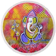 Lord Ganesha With Mantra Om Gam Ganapateye Namaha Round Beach Towel