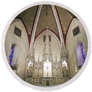 Round Beach Towel featuring the photograph Loretto Chapel Santa Fe by Kurt Van Wagner