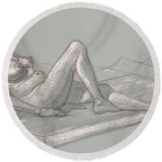 Lori Reclining 2016 Round Beach Towel