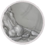 Lori Reclining With Hair Up Round Beach Towel