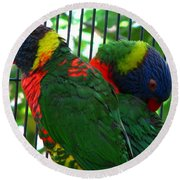 Round Beach Towel featuring the photograph Lory by Greg Patzer