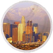 Los Angeles And The San Gabriel Mountains Round Beach Towel