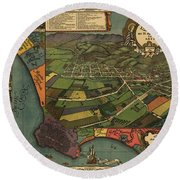Los Angeles As It Appeared In 1871 Round Beach Towel